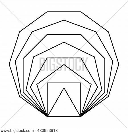Same Line Segment Length Polygons, Placed Inside Each Other. Regular, Convex, Equiangular And Equila