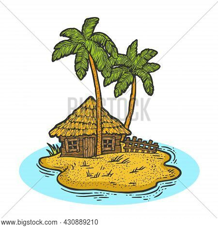 Uninhabited Island In Ocean With Hut And Palm Trees Color Sketch Engraving Vector Illustration. T-sh