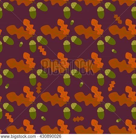 Autumn Background, Autumn Oak Leaves And Acorns. Seamless Vector Background For Advertising, Sales I