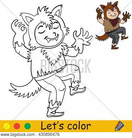Coloring With Template Halloween Boy In Werewolf Costume
