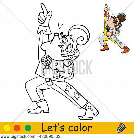 Coloring With Template Halloween Retro Disco Singer