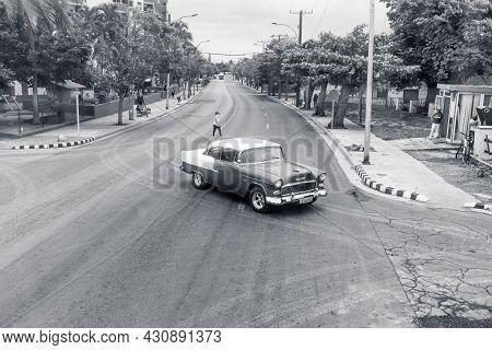 Varadero, Cuba - May 20, 2021: 1957 Chevrolet Bel Air In Motion