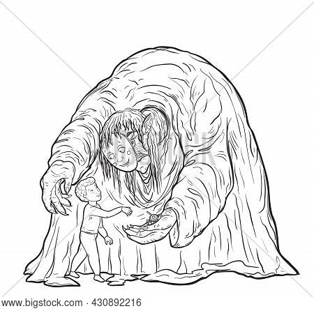 Ugly Monster Old Woman In Mask Of Kind Character Offering Sweets To Child. Trap For Children Concept
