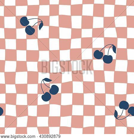 Checkered Cherry Seamless Pattern. Texture With A Cherry On Checkered Background. Trendy 70s Look.ch