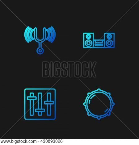 Set Line Dial Knob Level, Sound Mixer Controller, Musical Tuning Fork And Home Stereo. Gradient Colo