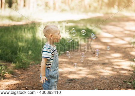 Little Boy Inflating Soap Bubbles In The Summer In Nature