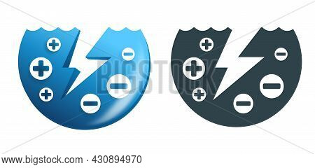 Electrolyte Drink Icon For Mineral Water Or Other Beverages - Electric Ions In Water. Vector Illustr