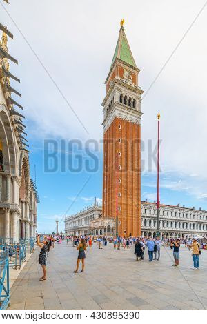 Venice, Italy - August 02, 2021: St Marks Square, Italian: Piazza San Marco, The Main Square Of Veni