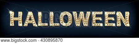 Festive Banner With The Word Halloween Made Of Gold Letters With Diamonds