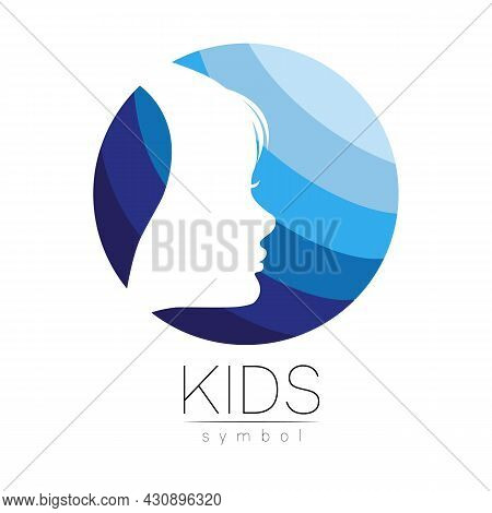 Child Blue Vector Logotype Vector Silhouette Profile Human Head. Concept Logo For People, Children,
