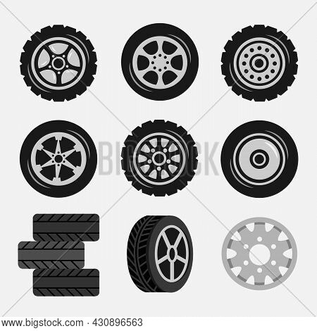 Set Of Car Tires And Alloy Wheels, Track Traces. Cartoon Vector Illustration. Collection Of Automoti