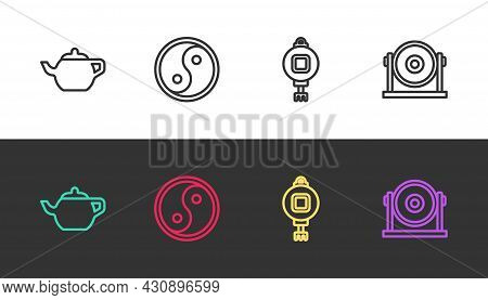 Set Line Chinese Tea Ceremony, Yin Yang, Paper Lantern And Gong On Black And White. Vector