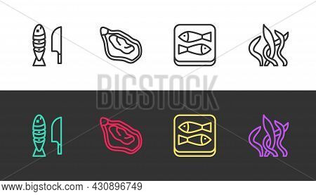 Set Line Fish With Sliced Pieces, Mussel, Canned Fish And Seaweed On Black And White. Vector