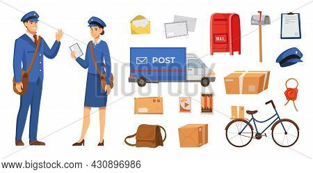 Male And Female Postman Characters Vector Illustrations Set. People In Uniform And Postal Objects Fo