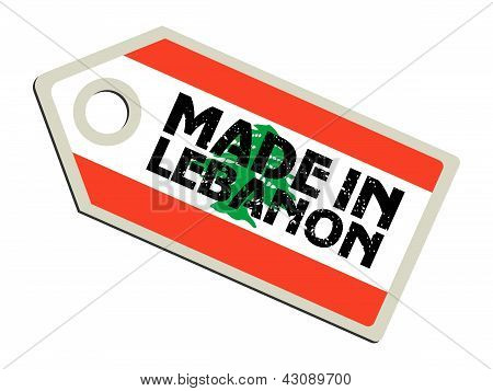 label with flag of Lebanon