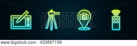Set Line Graphic Tablet, Tripod, Photo Camera And Remote Control For. Glowing Neon Icon. Vector