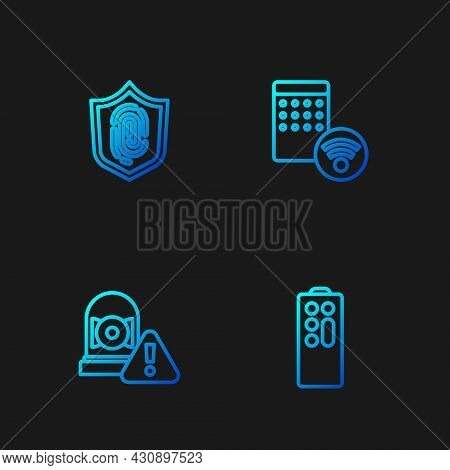 Set Line Remote Control, Ringing Alarm Bell, Fingerprint And Air Humidifier. Gradient Color Icons. V
