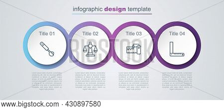 Set Line Measuring Spoon, Scales Of Justice, Instrument And Corner Ruler. Business Infographic Templ