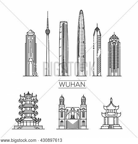 Wuhan, China, Line Art Vector Illustration With All Famous Buildings