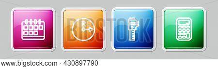 Set Line Calendar, Radius, Calliper Or Caliper And Scale And Calculator. Colorful Square Button. Vec