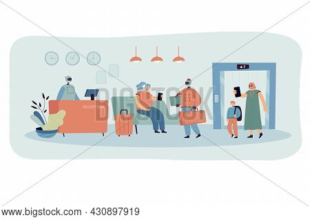 Cartoon Hotel Lobby Interior And Robotic Staff. Flat Vector Illustration. Robotic Reception And Desk