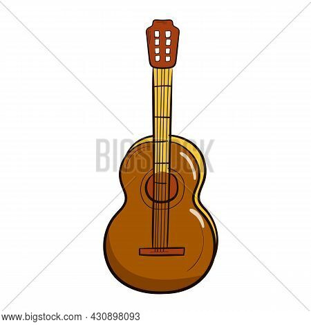 Hand Drawn Acoustic Guitar. Isolated On A White Background. Musical Instrument. Music. Vector Illust