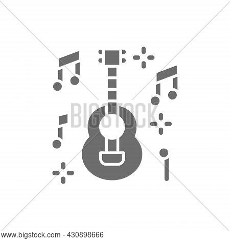 Mexican Guitar, Music, Mariachi Grey Icon. Isolated On White Background