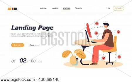 Man Showing Correct Position For Sitting At Desk Flat Vector Illustration. Cartoon Man Sitting On Ch