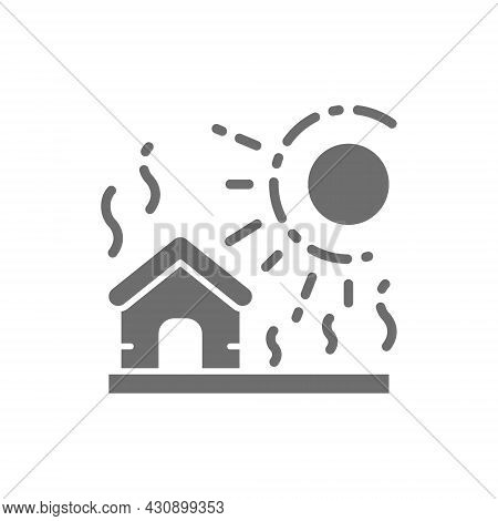 Vector Drought, Natural Disaster, Catastrophe Grey Icon.
