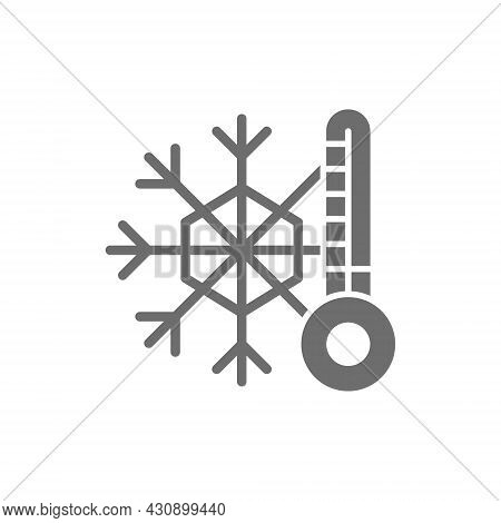 Snowflake With A Thermometer, Low Temperature, Frost Grey Icon.