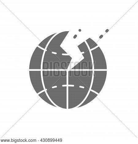 Vector Earthquake, Natural Disaster, Seism Grey Icon.
