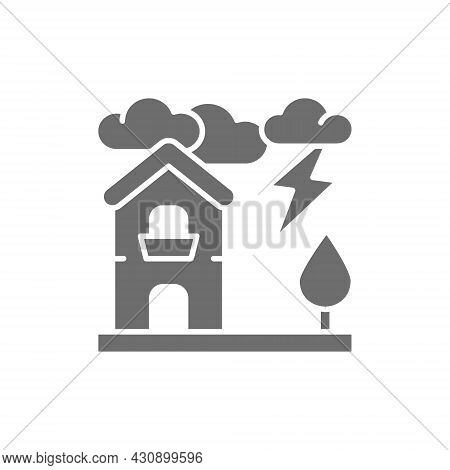 Thunderstorm, Lightning, Natural Disaster, Catastrophe Grey Icon.