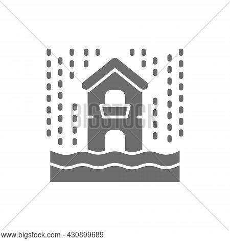 Rain, Flooding, Catastrophe, Natural Disaster Grey Icon.