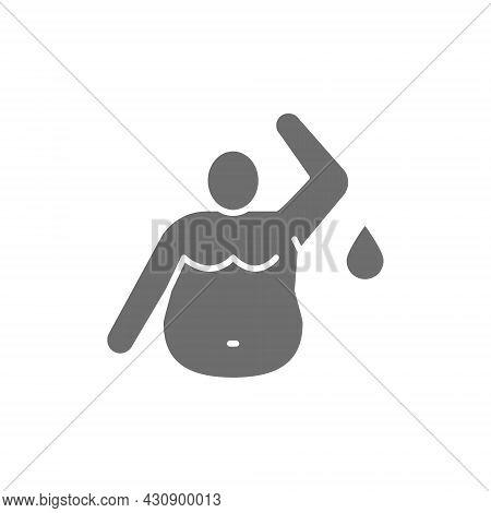 Fat Sweaty Man, Obesity Man Grey Icon.