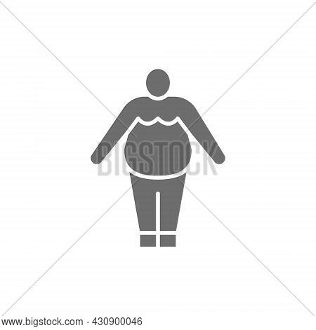 Vector Obesity, Fat Man, Chubby Grey Icon.