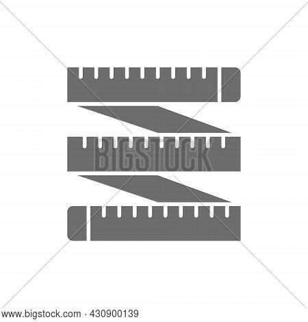 Measuring Tape, Tailor Centimeter, Roulette Grey Icon.