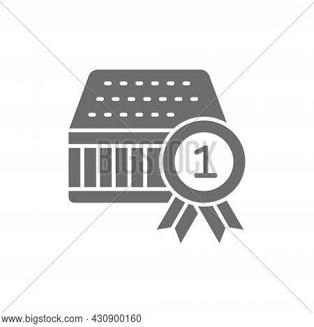 Quality Mattress, Guarantee, Reward Grey Icon. Isolated On White Background