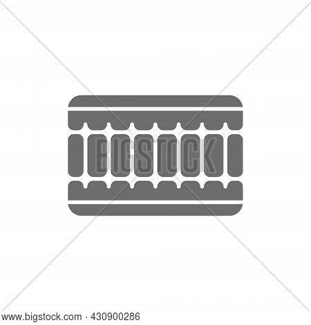 Orthopaedic Memory Foam Mattress Grey Icon. Isolated On White Background