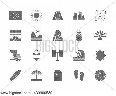 Set Of Brazilian Culture Grey Icons. Tropical Fruits, Beach Landscape, Toucan, Sun, Ancient Pyramid,