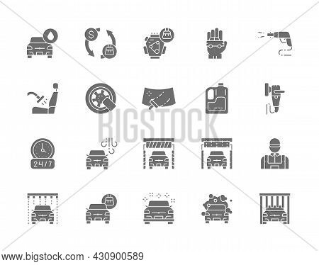 Set Of Car Wash Grey Icons. Polishing Machine, Wheel Lock, Windshield And More.