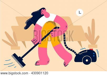 Housework And Vacuum Cleaning Concept. Young Smiling Woman Cartoon Character Making Vacuum Cleaner A