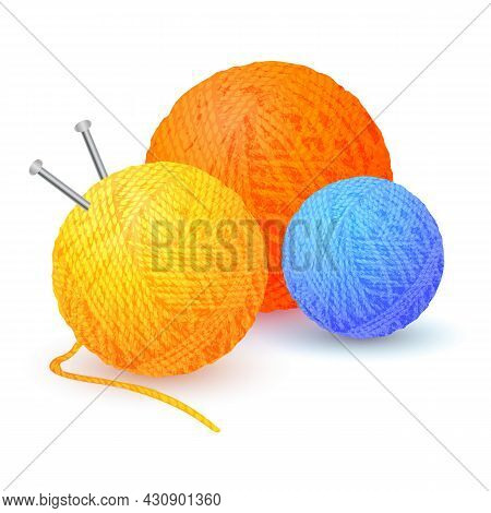Different Color Balls Of Yarn Threads. Bundles Of Wool For Knitting Isolated On White Background. Re