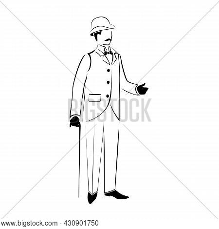 A Man In Retro Clothes, 19th Century. Vector Illustration. The Silhouette Of A Man Is Drawn With A L