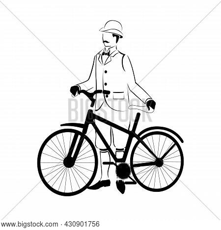 Silhouette Of A Man With A Bicycle. A Man In Retro Clothes, 19th Century. Fashion And Transportation