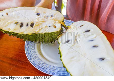 Sliced Soursop Sauersack Annona Muricata Tropical Fruit On White Plate And Wooden Table In Bentota S