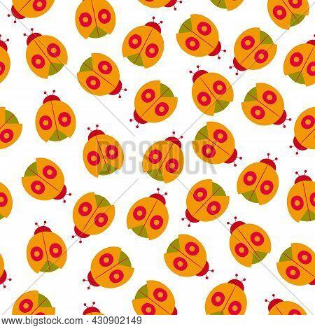 Seamless Pattern With A Ladybug. Stylized Images Of Ladybugs.
