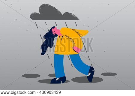 Depression, Sadness, Feeling Lonely Concept. Young Sad Depressed Lonely Woman Walking Alone Across S