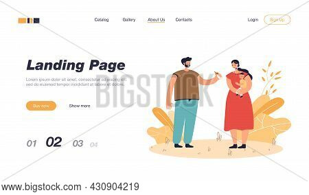 Father Giving Milk Bottle For Baby To Mother. Female Character Holding Child, Man Helping Wife Flat