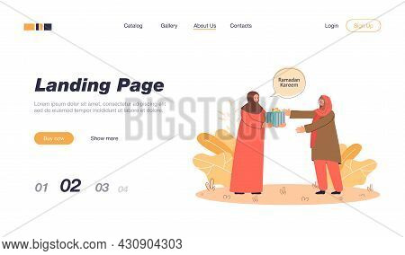 Muslim Woman Giving Present To Friend Or Mother. Female Cartoon Characters In Traditional Clothes Ce