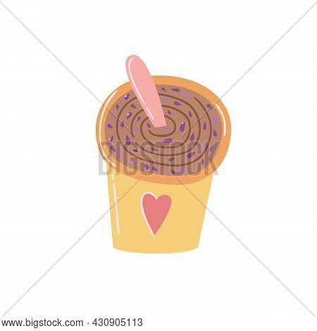 Chocolate Scrub Mask Mixed In A Glass On A Light Isolated Background. Flat Vector Illustration In Ch